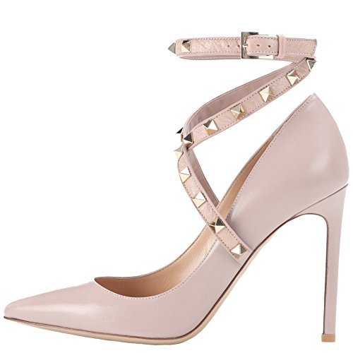SHOES Blush Women's High DYF FYM Shoes Size Large Mouth Shallow Color Sharp Heel Solid Ow6q4xgd