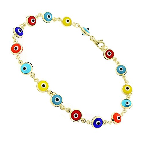 14k Yellow Gold Womens 5.5mm Multi-Color Evil Eye Bead Good Luck Charm Bracelet Chain 7.5'' by In Style Designz