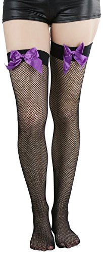 ToBeInStyle Women's Fishnet Thigh High With Satin Bow Stockings Tights Hosiery - Black With Purple Bow - One Size: Regular