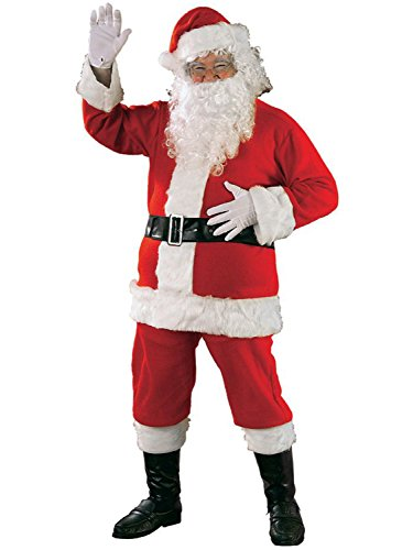 Rubie's Bright Red Flannel Santa Suit With Gloves, Red/White, Standard -