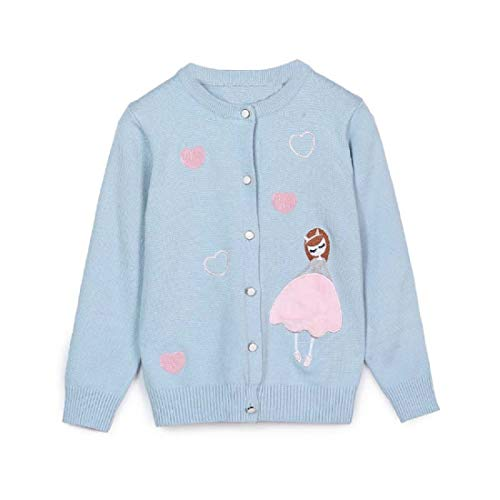 Junchio Girls' Knitted Cotton Sweater Long Sleeve Cardigan (3-4Y, Blue)