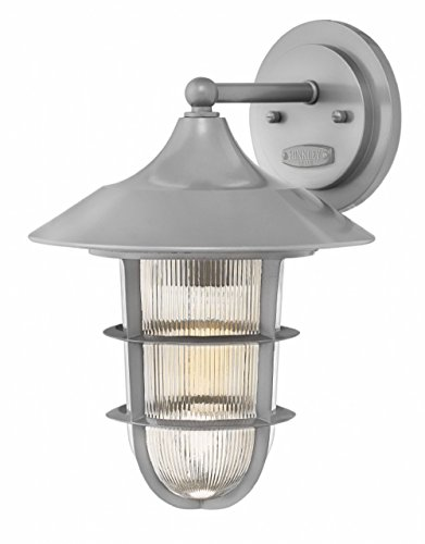 Hinkley 2484HE Transitional One Light Outdoor Wall Mount from Marina collection in Pwt, Nckl, B/S, Slvr.finish,