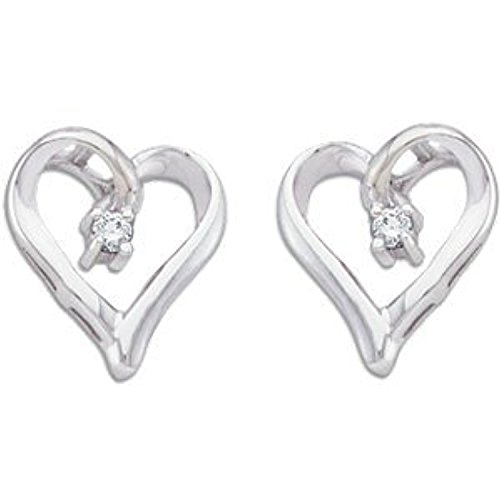 White-gold .04 ct tw Diamond Heart Earrings