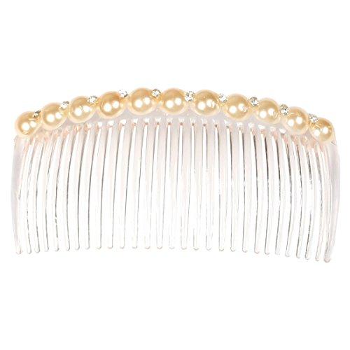 uxcell Plastic Faux Pearl Rhinestone Women Lady Decoration Hair Clip Comb Haieclip Beige Bold Faux Pearl