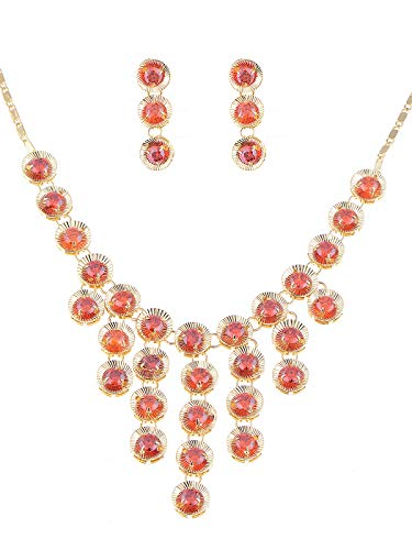 Alilang Golden Tone Ruby Red Swarovski Crystal 1960s Cascade Necklace Earring Set ()