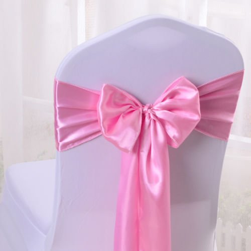 SARVAM FASHION Set Of 10 Chair Decorative Satin Sashes Bow Designed For Wedding Events Banquet Home Kitchen Decoration (Baby Pink) by SARVAM FASHION