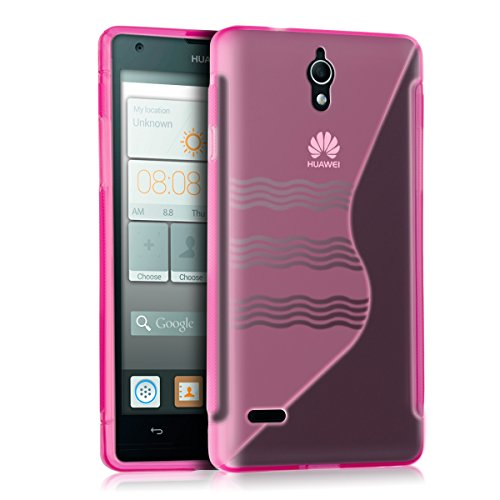 kwmobile TPU Silicone Case for Huawei Ascend G700 - Soft Flexible Shock Absorbent Protective Phone Cover - Dark Pink/Transparent]()