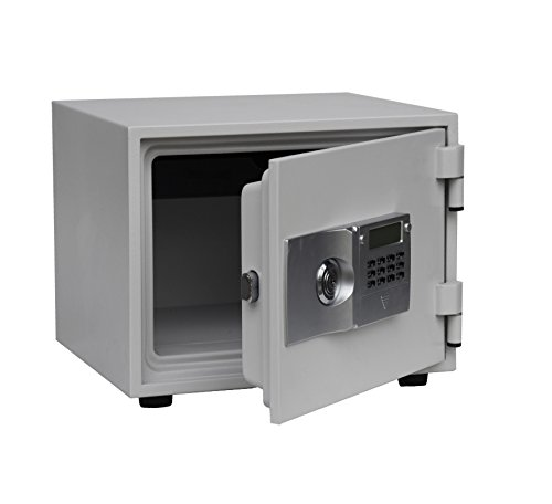 Hollon Safe FS-300E 1 Hour Fire Proof Electronic and Key Lock Home Safe, 0.57 cu.ft., White