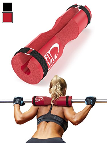 Red Barbell Pad for Standard and Olympic Barbells with Velcro Safety Straps - Foam Pad for Weightlifting, Hip Thrusts, Squats, and Lunges