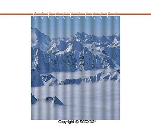 SCOXIXI Shower Curtain,Bathroom Accesories,Fantasy Dream Land Over Austrian Alps Summit Climate Skiing Snowfall Fir Theme,W72XL72 Inches