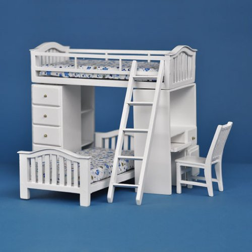 (Dollhouse Miniature Student's Bunkbed Loft in White)
