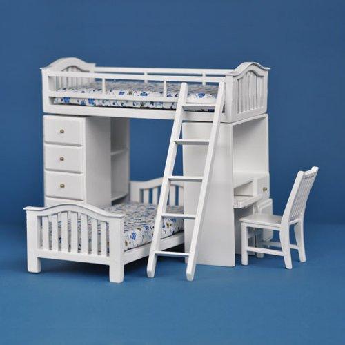 Dollhouse Miniature Student's Bunkbed Loft in White