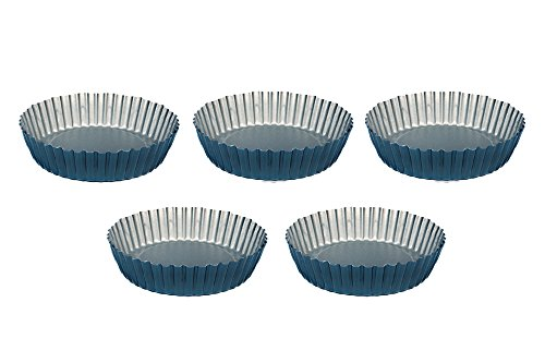 Mini Tart Pan Set - 5 pcs 4,7 inches Tartalet Molds - Teflon Nonstick Coating Form - easy to clean - Ideal for Pie Quiche Muffin Cheesecake