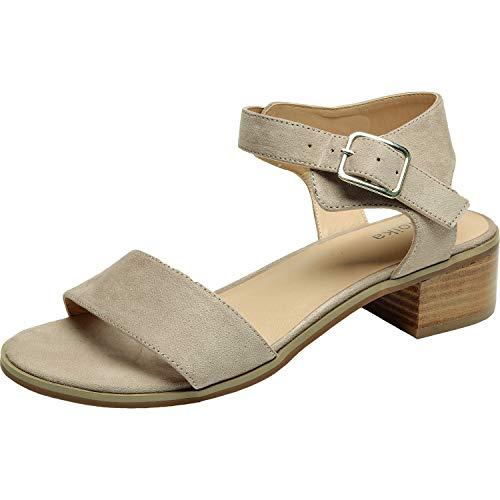 - Women's Wide Width Heeled Sandals - Classic Low Block Heel Open Toe Ankle Strap Summer Shoes.(180309,Beige,7)
