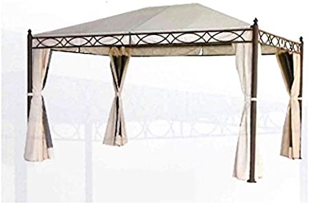 Amicasa Oregon - Pérgola de hierro de 3 x 4 m con revestimiento de PVC, toldos y mosquiteras: Amazon.es: Jardín