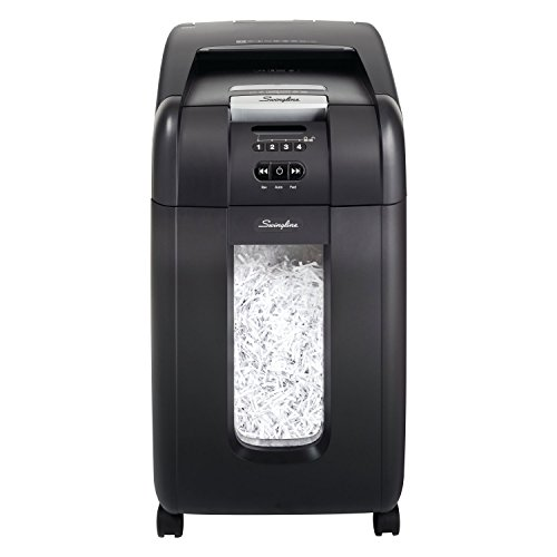 (Swingline Paper Shredder, SmarTech Enabled, Auto Feed, 300 Sheet Capacity, Super Cross-Cut, 5-10 Users, Stack-and-Shred 300X (1757576S))