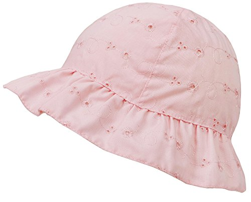 SimpliKids Baby Infant Lovely Floral Embroidered Floppy Wide Brim Sun Hats ,Pink,12-24 Months