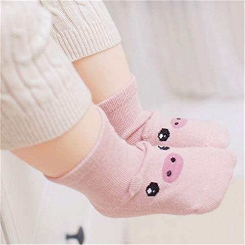 2019 New Spring Baby Socks Newborn Cotton Boys Girls Cute Toddler Asymmetry Anti-slip Socks (Small, Pink Pig)