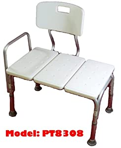 MedMobile® BATHTUB TRANSFER BENCH / BATH CHAIR WITH BACK, WIDE SEAT, ADJUSTABLE SEAT HEIGHT, SURE-GRIPED LEGS, LIGHTWEIGHT, DURABLE, RUST-RESISTANT SHOWER BENCH