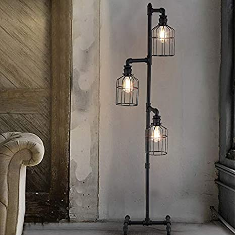 brand new 1f0e8 c31de NIUYAO Industrial Style 60'' High Track Tree Floor Lamp Iron Cage 3 Lights  Pipe LED Floor Light Fixture Black