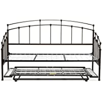 Fenton Complete Metal Daybed with Link Spring and Trundle Bed Pop-Up Frame, Black Walnut Finish, Twin