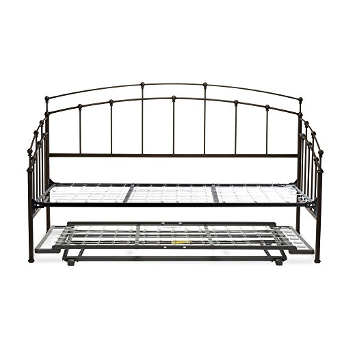 (Leggett & Platt Fenton Complete Metal Daybed with Link Spring Support Frame and Pop-Up Trundle Bed, Black Walnut Finish, Twin)