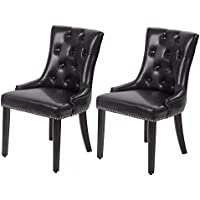 Mr Direct Set of 2 Black Elegant Dining Side Chairs PU Leather Button w/ Nailheads