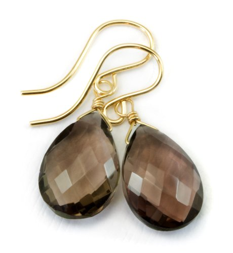 14k Gold Filled Smoky Quartz Earrings Dark Faceted Pear Smokey Teardrops AAA Briolettes