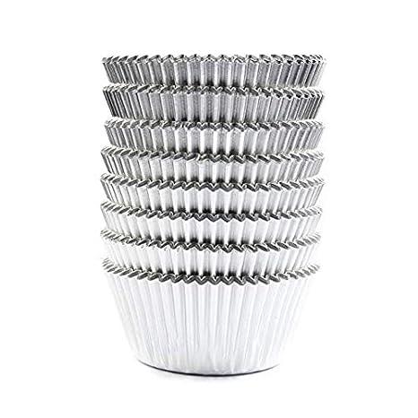 100pcs Papel para Magdalenas, Moldes para Hornear Lámina de Aluminio Moldes Cupcakes Decoración para Boda Fiesta Plata: Amazon.es: Hogar