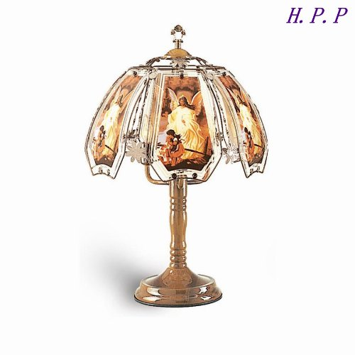 Oak Table Bases - H.P.P. 23.5''H NEW Glass Angel Touch Table Lamp w/ Oak Finish Base