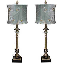 Urban Designs Handcrafted Table Lamp with Blue Golden Vines Shade (Set of 2)