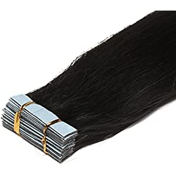 16-24 Inch Color Long 17 Colors 5 Length Tape in Premium Remy Human Hair Extensions_20 Pcs Set 70g Weight Straight Women Beauty Salon Style Design (24inch 70g with 20pcs, 01 jet black)