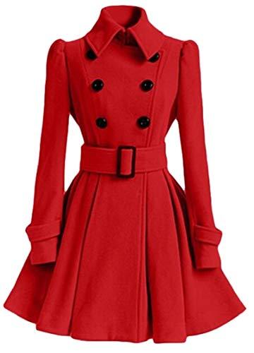 (M&S&W Women Autumn Swing Double Breasted Wool Pea Coat with Belt Buckle Spring Long Sleeve Lapel 1 XXS)