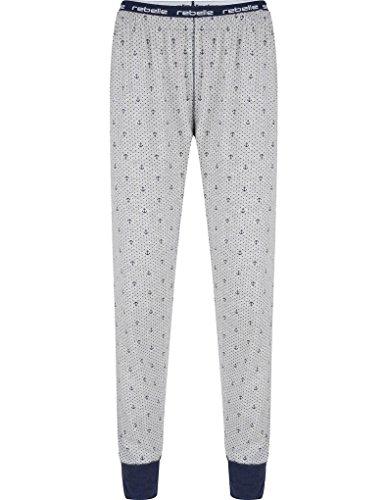 Rebelle 5171-220-8-953 Women's Light Grey Anchor Print Cotton Pajama Pyjama Pant