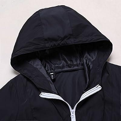 Fancyqube Women's Lightweight Packable Outdoor Hooded Windproof Jacket Waterproof Coat Windbreaker: Clothing