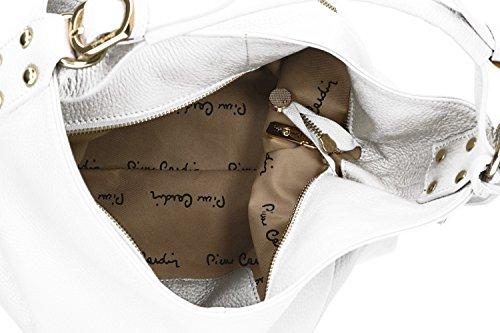 Borsa donna a spalla PIERRE CARDIN shopper bianca in pelle MADE IN ITALY VN1104