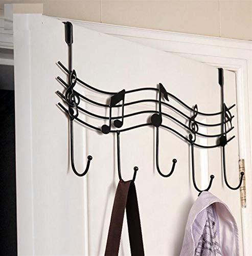 Perchero de metal con diseño de notas musicales, color negro
