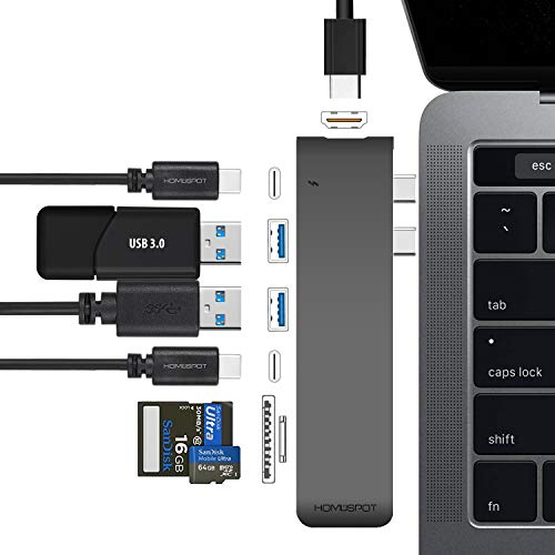 "USB C Hub MacBook Pro HDMI, HomeSpot Aluminum USB Hub for 2018/2019 MacBook Air 2016/2017/2018/2019 MacBook Pro 13"" & 15"" 4K HDMI, USB 3.1, USB-C Data 50Gbs, SD Micro Card Readers"