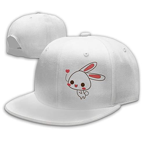 Buecoutes Lovely White Rabbit Flat Visor Baseball Cap, Fashion Snapback Hat White