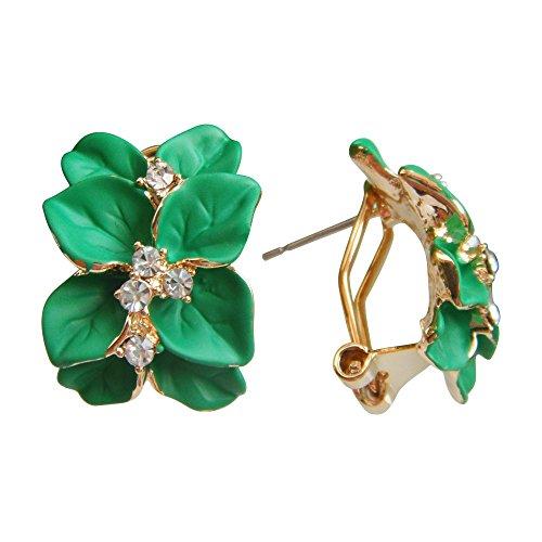 (Navachi 18k Gold Plated Clear Crystal Green Enamel Leaves Flower Omega Earrings)