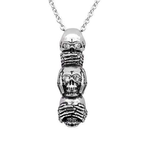 Controse Speak No Evil, Hear No Evil, See No Evil Skull Necklace