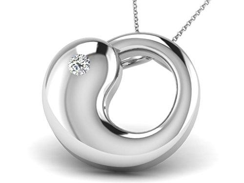 Or Blanc 14 ct Pendentifs Diamant , 0.01 Ct Diamant, GH-SI, 2.21 grammes.
