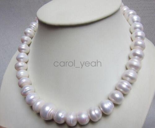 12-14MM AAA NATURAL Akoya WHITE SOUTH SEA BAROQUE PEARL NECKLACE 14K 18