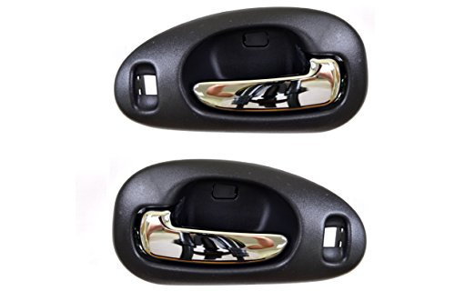 PT Auto Warehouse CH-2334MA-FP - Inside Interior Inner Door Handle, Black Housing/Chrome Lever - Front Left/Right Pair