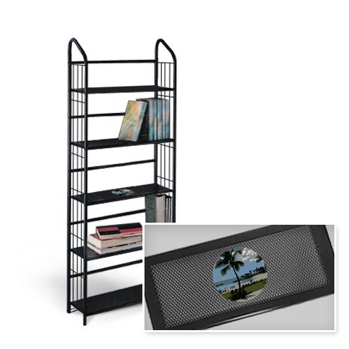 New 5 Tier Black Metal Finish Shelf featuring Hawaiiing Logo by The Furniture Cove