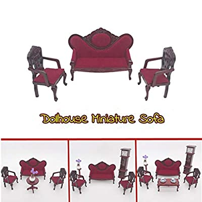 Karooch 1:12 Mini Dollhouse Three-Piece Red Vintage Sofa Set Wooden Furniture Accessory Pretend Play Toy for Doll House Living Room Decoration Ornamental: Toys & Games