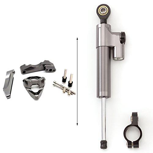 FXCNC CNC Racing Motorcycle Steering Damper Stabilizer Bracket Mounting Kit Set For SUZUKI GSXR 600 750 GSR750 K4 2001-2005 Aluminum Gray&Black -