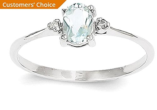 ICE CARATS 14k White Gold Diamond Blue Aquamarine Birthstone Band Ring Size 6.00 March Oval Style Fine Jewelry Gift Set For Women Heart by ICE CARATS (Image #3)