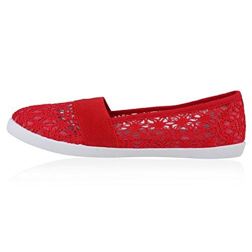 Stiefelparadies Bequeme Damen Slipper Slip-Ons Sportliche Schuhe Flats Stoffschuhe Prints Glitzer Freizeitschuhe Flandell Rot Muster Amares