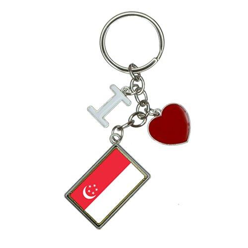 Flag of Singapore I Heart Love Keychain Key Ring